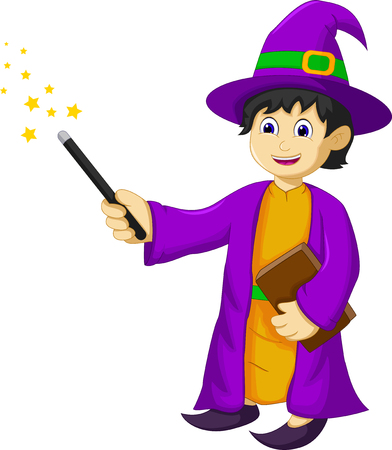 Funny witch cartoon holding book and magic stick. Illustration