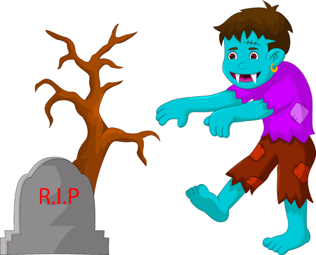 Cartoon zombie walking in cemetery.