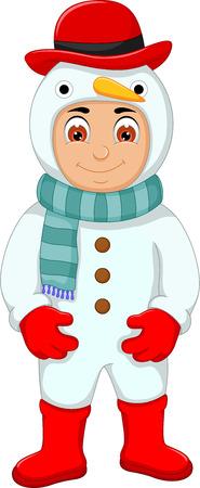 funny boy: Funny cute boy cartoon with snowman costume.