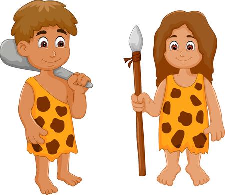 Funny cute couple ancient cartoon humain. Vecteurs