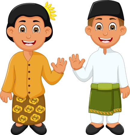 Traditional costume of Malaysia cartoon