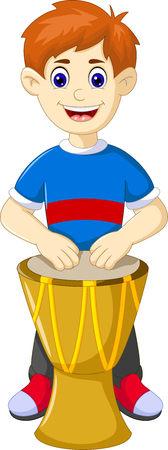 Handsome man cartoon play drum with smile
