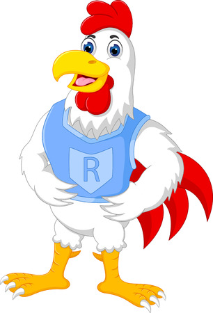 Strong rooster character, happily posing, hands on waist in cartoon illustration