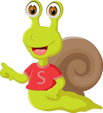 Cut snail character, wears cloth and finger pointing in cartoon illustration