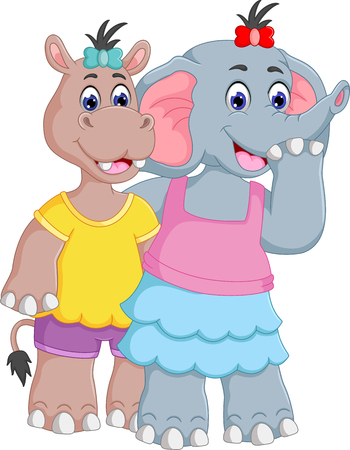 Funny hippo and elephant cartoon standing with hugging.