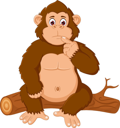 funny gorilla cartoon sitting confusion on wooden