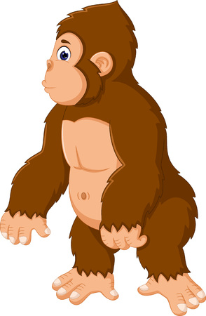 funny gorilla cartoon posing with smile Illustration