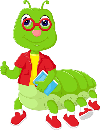 funny caterpillar cartoon bring book with smile and thumb up