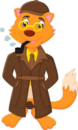 funny fox cartoon standing with smoking Illustration