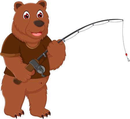 cute bear cartoon standing with fishing
