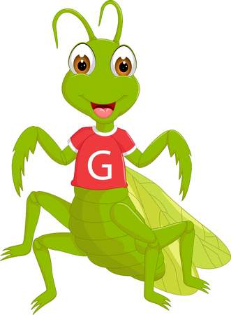 cute grasshopper cartoon standing with smile and waving