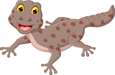 Cute gecko cartoon posing with smile Illustration