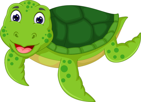 Cute turtle cartoon swimming with smiling