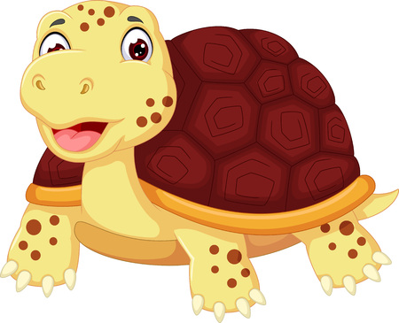 Cute turtle cartoon posing with smile Illustration