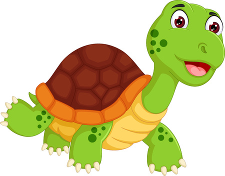Funny turtle cartoon walking with laughing Ilustracja