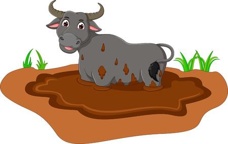 funny bull cartoon on mud with smile Illustration