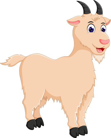 Cute goat cartoon standing with smile Illustration
