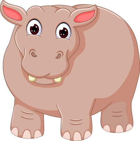 funny hippo cartoon standing with smile