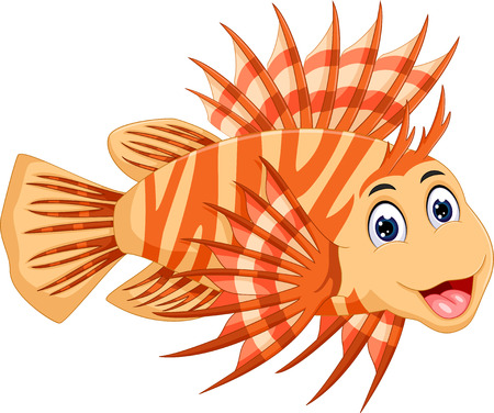 black and white: cute lionfish cartoon posing with smile