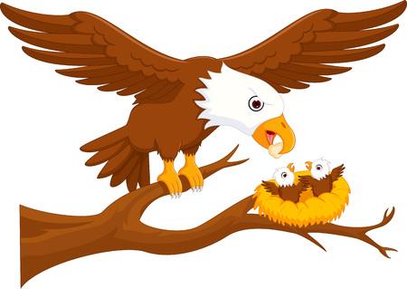 adelaar ouder met adelaar jongen cartoon omhoog boom