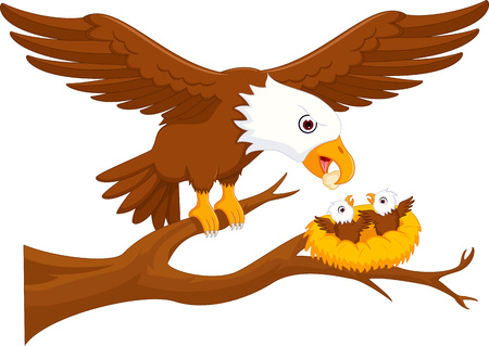 eagle parent with eagle boy cartoon up tree