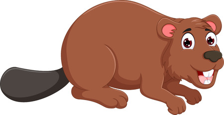 funny marmot cartoon ducked with smile