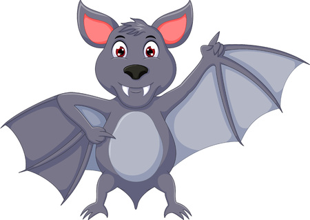 funny bat cartoon standing with waving and smile
