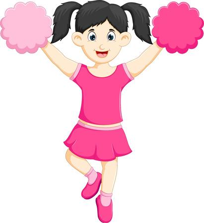 sweet cheerleader cartoon standing with hand up