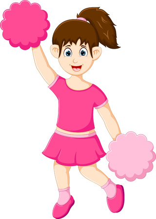 funny cheerleader cartoon in action with laughing