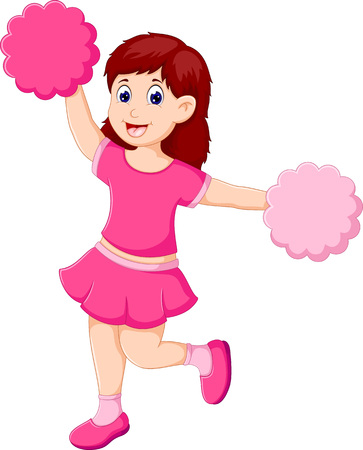 cute cheerleader cartoon in action with smile Illustration