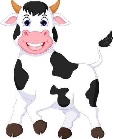 funny cow cartoon standing with smile Illustration
