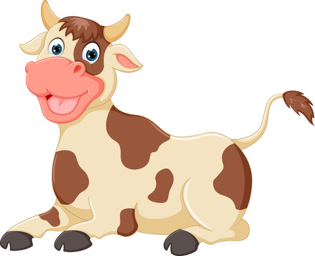 cute cow cartoon sitting with laughing