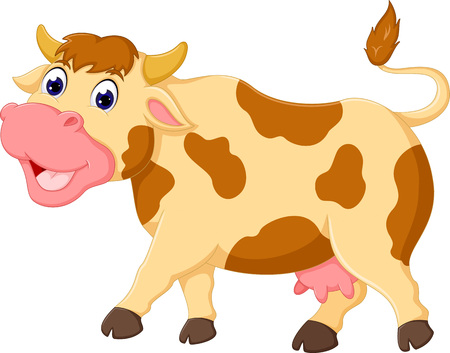 milker: funny cow cartoon walking with laughing Illustration