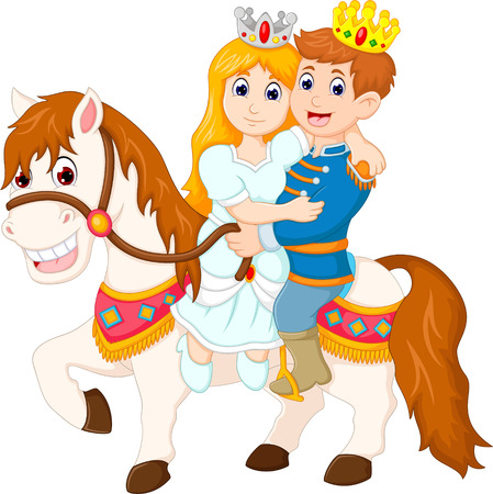 sweet queen and king up horse with smile