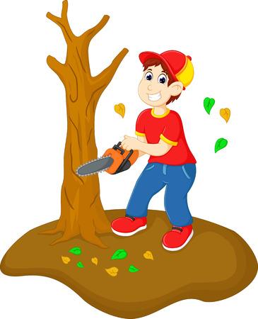 hübscher Jungenkarikatur-Schnittbaum mit sah Vektorgrafik