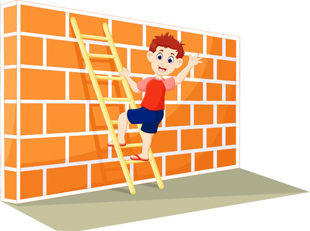Funny boy cartoon up stairs with waving and smile
