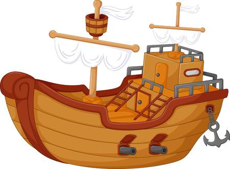 Antique pirate ship cartoon. Stock Illustratie
