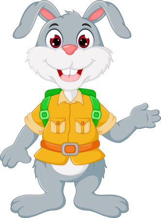 Cute rabbit cartoon standing while waving.