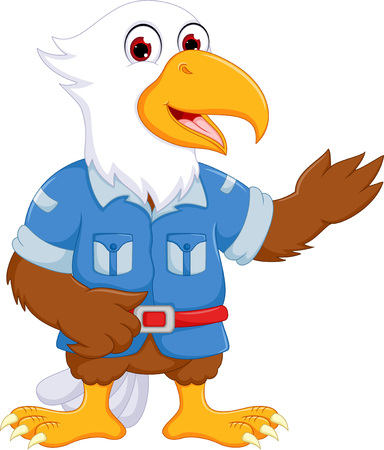 funny eagle cartoon standing with waving and smile cartoon Illustration
