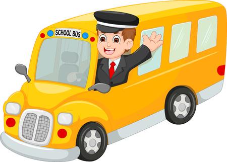 Hübscher Busfahrerkarikatur herauf Bus mit dem Wellenartig bewegen und dem Lächeln Vektorgrafik