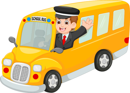 Handsome bus driver cartoon up bus with waving and smiling