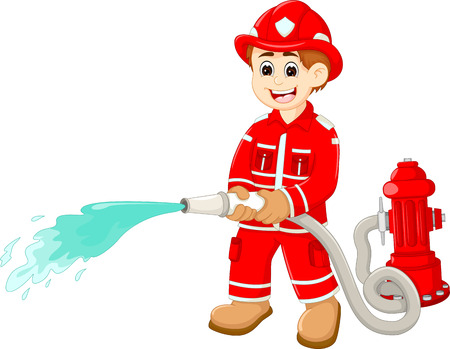 handsome firefighters cartoon in action Ilustrace