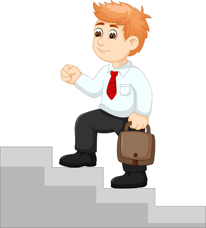 bussinesmen cartoon walking up stairs with cheerup Illustration
