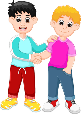 happy family: handsome boy cartoon standing with shaking hand