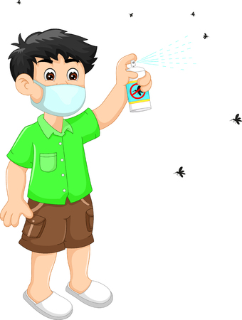 People spray insect repellent, cartoon