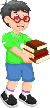divertidos dibujos animados de chico traen libros