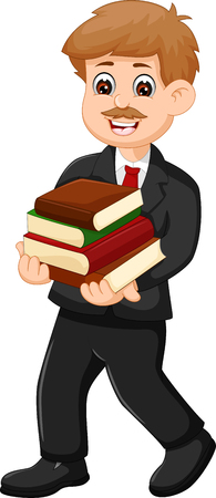 Handsome teacher cartoon bring books while walking and smiling Illustration