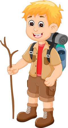 Cute backpacker cartoon bring twigs, standing and smiling