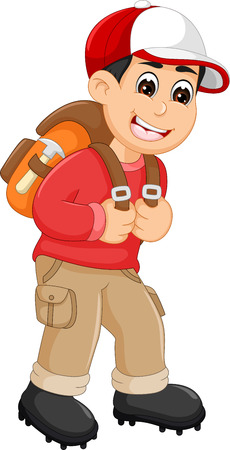 Funny backpacker cartoon standing and laughing