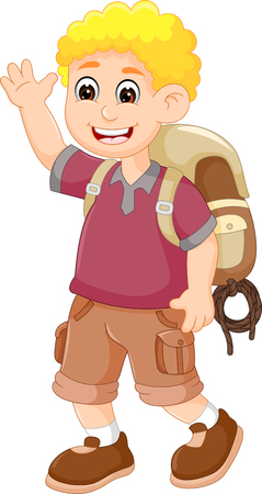 Handsome backpacker cartoon walking with waving and smiling Illustration